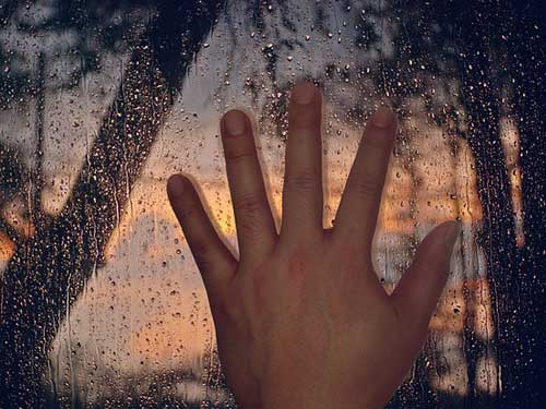 Hand on storm window
